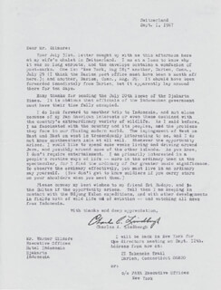 CHARLES A. LINDBERGH - TYPED LETTER SIGNED 09/01/1967