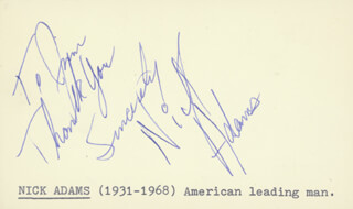 Autographs: NICK THE REBEL ADAMS - AUTOGRAPH NOTE SIGNED