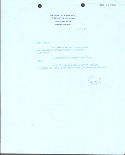 GEORGE S. KAUFMAN - TYPED LETTER SIGNED 07/23/1956