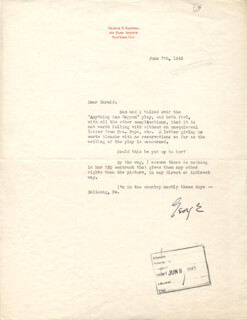 GEORGE S. KAUFMAN - TYPED LETTER SIGNED 06/07/1945