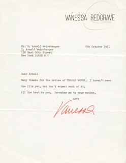 VANESSA REDGRAVE - TYPED LETTER SIGNED 10/06/1971