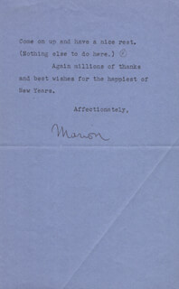 MARION DAVIES - TYPED LETTER SIGNED 12/25/1941