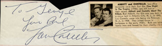 Autographs: ABBOTT & COSTELLO (LOU COSTELLO) - AUTOGRAPH NOTE SIGNED CO-SIGNED BY: SUNNY GALE