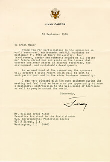 PRESIDENT JAMES E. JIMMY CARTER - TYPED LETTER SIGNED 09/18/1984