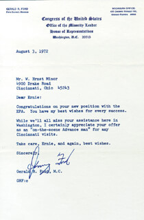 PRESIDENT GERALD R. FORD - TYPED LETTER SIGNED 08/03/1972