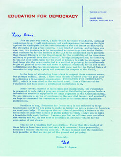 Autographs: VICE PRESIDENT SPIRO T. AGNEW - PRINTED LETTER SIGNED IN INK