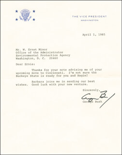 PRESIDENT GEORGE H.W. BUSH - TYPED LETTER SIGNED 04/01/1985
