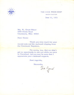 VICE PRESIDENT SPIRO T. AGNEW - TYPED LETTER SIGNED 06/13/1973