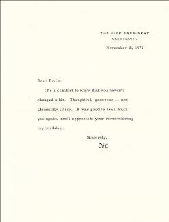 VICE PRESIDENT SPIRO T. AGNEW - TYPED LETTER SIGNED 11/11/1971
