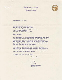 PRESIDENT RONALD REAGAN - TYPED LETTER SIGNED 09/11/1970