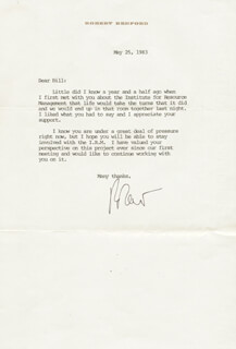 ROBERT REDFORD - TYPED LETTER SIGNED 05/25/1983