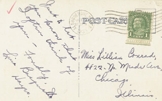 LINA BASQUETTE - AUTOGRAPH POST CARD SIGNED 10/1933