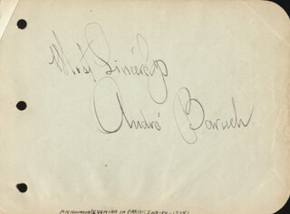 ANDRE BARUCH - AUTOGRAPH SENTIMENT SIGNED