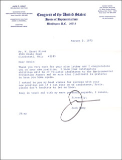 Autographs: JACK KEMP - TYPED LETTER SIGNED 08/02/1972