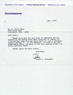 Autographs: DONALD C. ALEXANDER - TYPED LETTER SIGNED 01/16/1976
