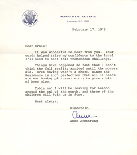 Autographs: ANNE ARMSTRONG - TYPED LETTER SIGNED 02/17/1976