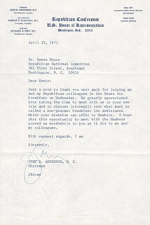 Autographs: JOHN B. ANDERSON - TYPED LETTER SIGNED 04/29/1971