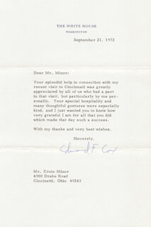 Autographs: EDWARD FINCH COX - TYPED LETTER SIGNED 09/21/1972
