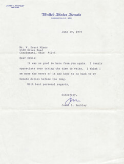 Autographs: JAMES L. BUCKLEY - TYPED LETTER SIGNED 06/29/1976