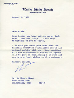 CHARLES H. PERCY - TYPED LETTER SIGNED 08/01/1972