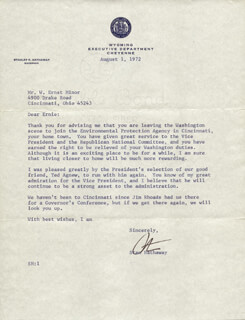 Autographs: STANLEY K. HATHAWAY - TYPED LETTER SIGNED 08/01/1972