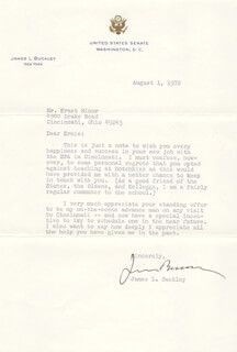 Autographs: JAMES L. BUCKLEY - TYPED LETTER SIGNED 08/01/1972