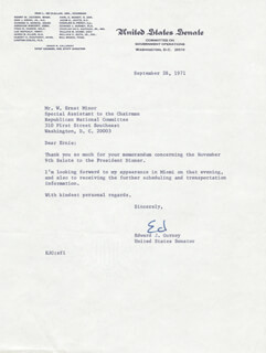 EDWARD GURNEY - TYPED LETTER SIGNED 09/28/1971