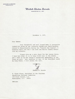Autographs: EDWARD W. BROOKE III - TYPED LETTER SIGNED 12/03/1971