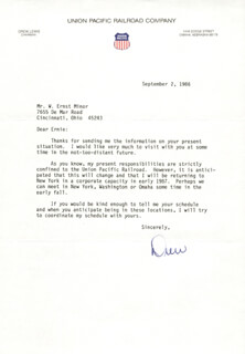 Autographs: ANDREW L. DREW LEWIS JR. - TYPED LETTER SIGNED 09/02/1986