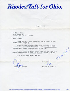 JAMES A. RHODES - TYPED LETTER SIGNED 05/09/1986 CO-SIGNED BY: ROBERT A. TAFT II