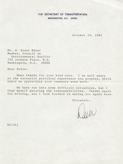 Autographs: ANDREW L. DREW LEWIS JR. - TYPED LETTER SIGNED 10/19/1981