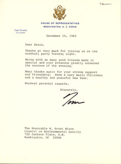 THOMAS B. EVANS JR. - TYPED LETTER SIGNED 12/16/1982