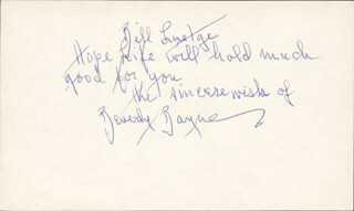 BEVERLY BAYNE - AUTOGRAPH NOTE SIGNED