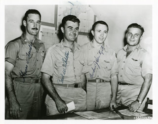 ENOLA GAY CREW - AUTOGRAPHED SIGNED PHOTOGRAPH CO-SIGNED BY: ENOLA GAY CREW (THEODORE VAN KIRK), ENOLA GAY CREW (PAUL W. TIBBETS), ENOLA GAY CREW (COLONEL THOMAS W. FEREBEE)