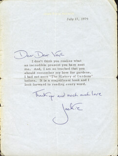 FIRST LADY JACQUELINE B. KENNEDY - TYPED LETTER SIGNED 07/17/1979
