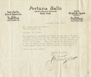 FORTUNE GALLO - TYPED LETTER SIGNED 10/17/1923