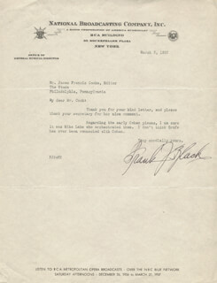 FRANK J. BLACK - TYPED LETTER SIGNED 03/05/1937
