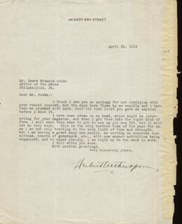 HERBERT WITHERSPOON - TYPED LETTER SIGNED 04/21/1919