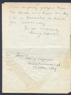 ISANG TAPALES - AUTOGRAPH LETTER SIGNED 06/29/1927