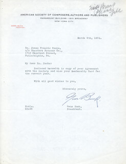 Autographs: EUGENE EDWARD GENE BUCK - TYPED LETTER SIGNED 03/06/1934