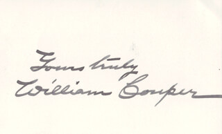 WILLIAM COUPER - AUTOGRAPH SENTIMENT SIGNED