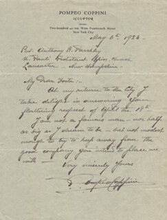 POMPEO COPPINI - AUTOGRAPH LETTER SIGNED 05/06/1924