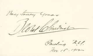 BENJAMIN WEST CLINEDINST - AUTOGRAPH SENTIMENT SIGNED 11/15/1912