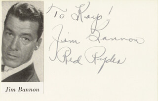 JIM RED RYDER BANNON - INSCRIBED SIGNATURE