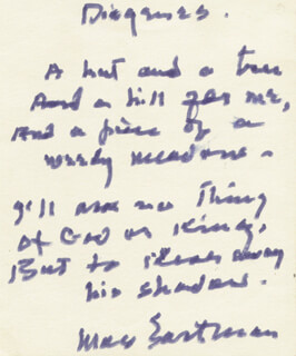 MAX EASTMAN - AUTOGRAPH POEM SIGNED