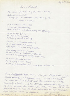 RICHARD EBERHART - INSCRIBED AUTOGRAPH POEM SIGNED 09/14/1970