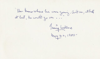 IRVING WALLACE - AUTOGRAPH QUOTATION SIGNED 05/22/1983
