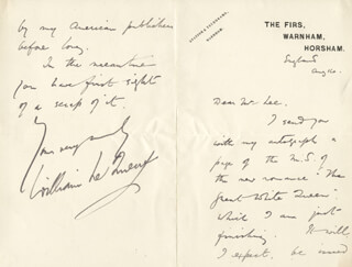 WILLIAM T. LE QUEUX - AUTOGRAPH LETTER SIGNED