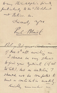 PAUL (MAX O'RELL) BLOUET - AUTOGRAPH LETTER SIGNED 08/23/1893