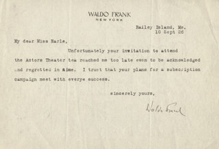 WALDO FRANK - TYPED LETTER SIGNED 09/10/1926